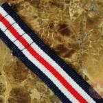 "NATO STRAP G-10 Military Nylon 5 Stripe navy / white / red 20mm 10"" with free spring bars"