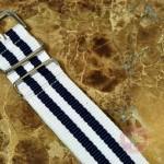 "NATO STRAP G-10 Military Nylon 5 Stripe black / white 20mm 10"" with free spring bars"