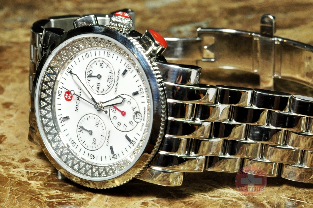 Michele sport sail diamond chronograph 38mm women s watch mw01c01d9001 sansom watches rolex for Watches 38mm