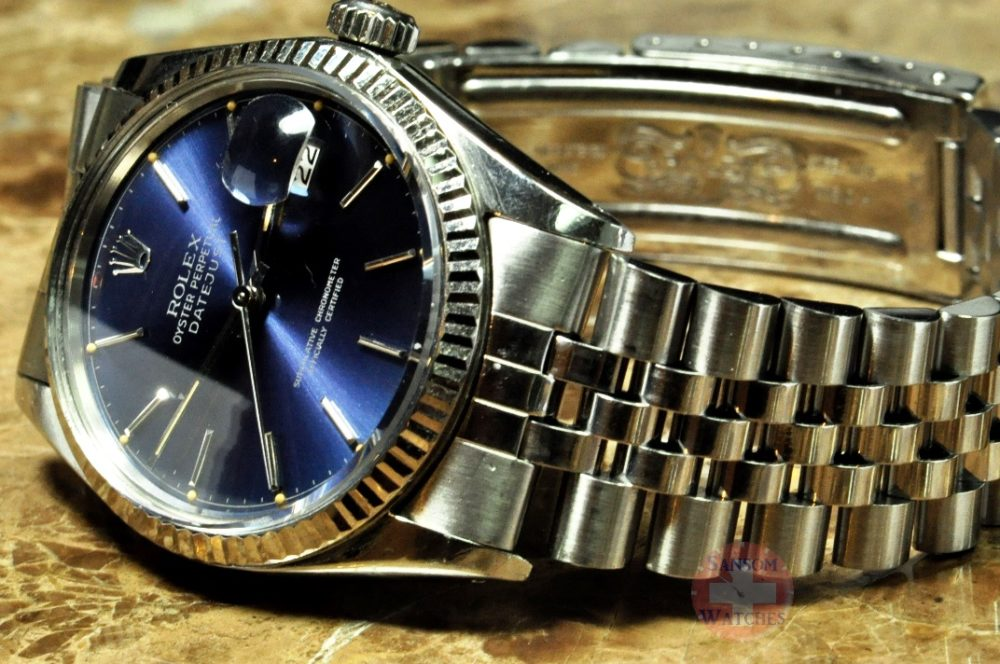 Rolex Datejust 16014 with Blue Dial and 18k white gold fluted bezel