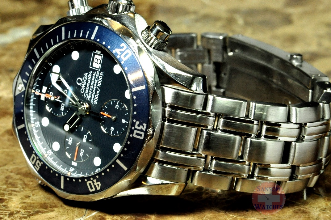 Omega seamaster 300m professional chronograph blue wave dial sansom watches rolex for Omega seamaster professional