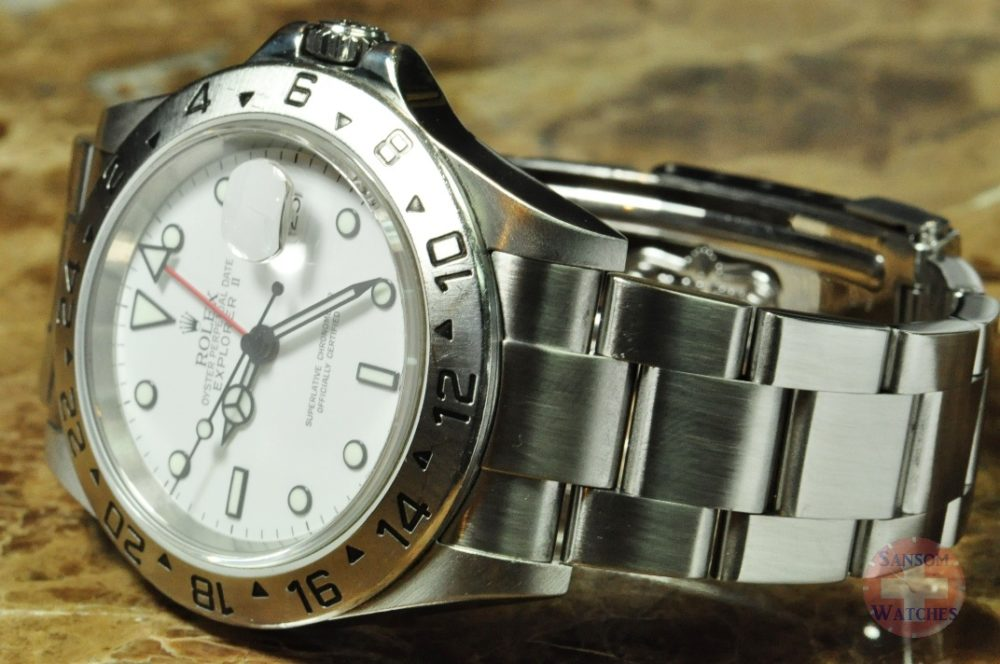 Rolex Explorer 2 Model 16570 White Polar with Solid Endlinks SEL and No Holes Case