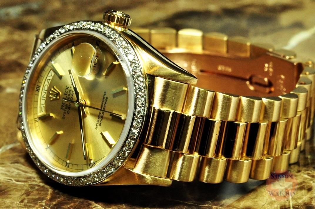 Rolex Day Date President 18038 18k Gold With Diamond Bezel