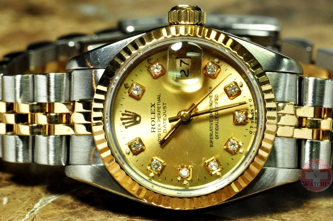 717bd87a6e61 Rolex Lady Datejust 18k Gold   Steel   Diamonds Box   Papers MINT model  69173