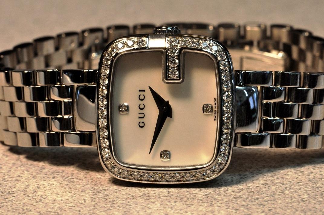 faef7609f44 Gucci G-Gucci Small Diamond Womens Watch YA125519 Mother of Pearl – Sansom  Watches