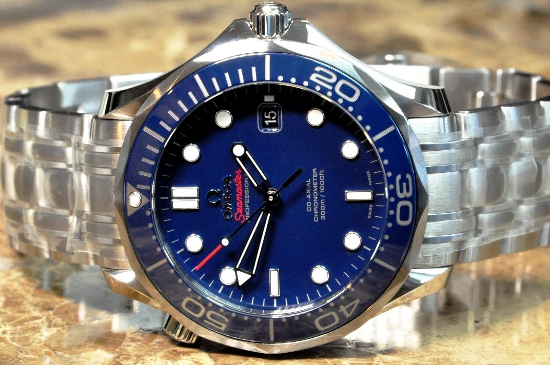 2acb8a37ecd Omega Seamaster Diver 300M Co-Axial 41mm Blue Ceramic Box Papers Cards  212.30.41.20