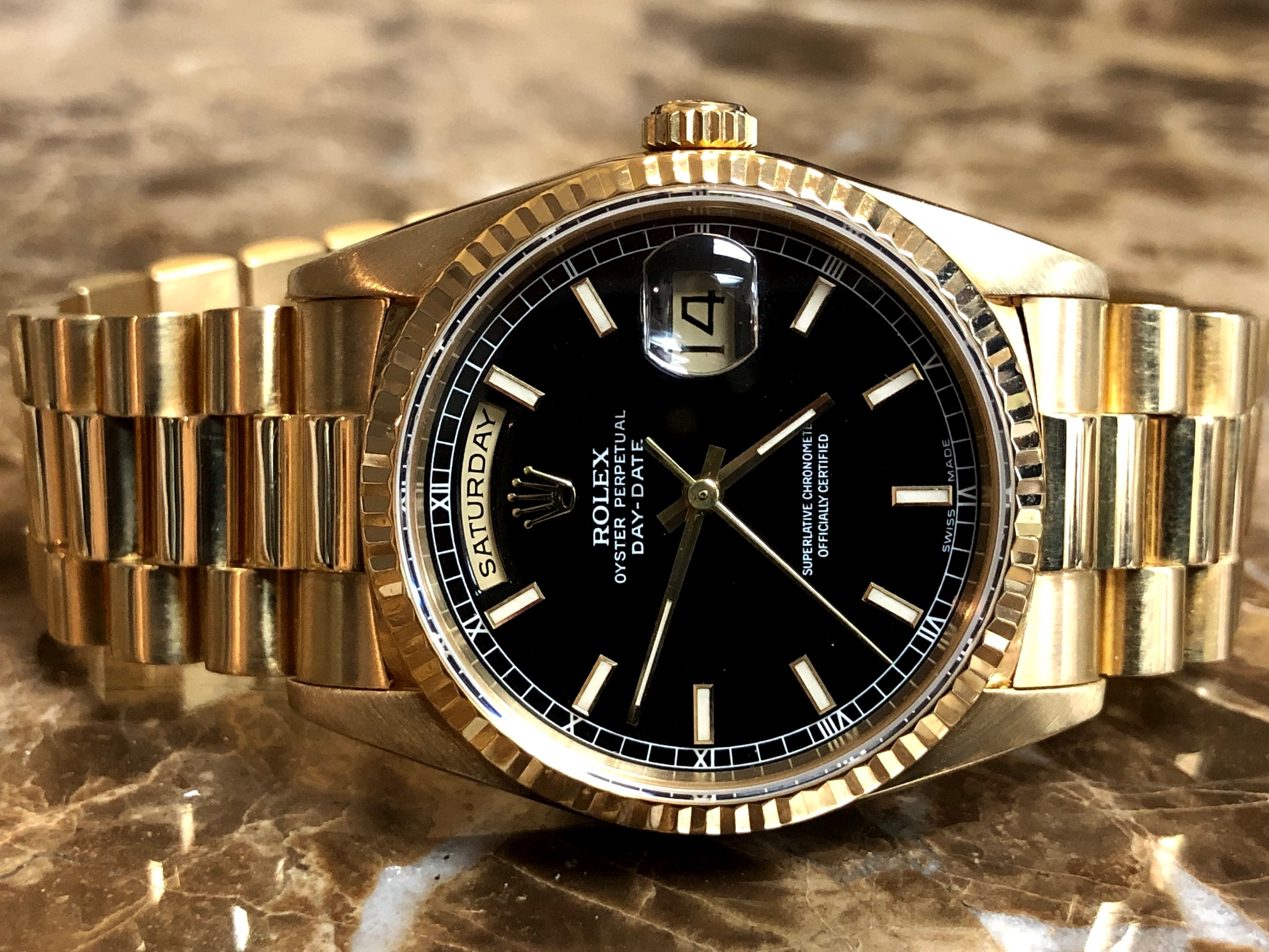 Rolex President Day Date Mens 18k Yellow Gold With Black Dial18238 With Rolex Box